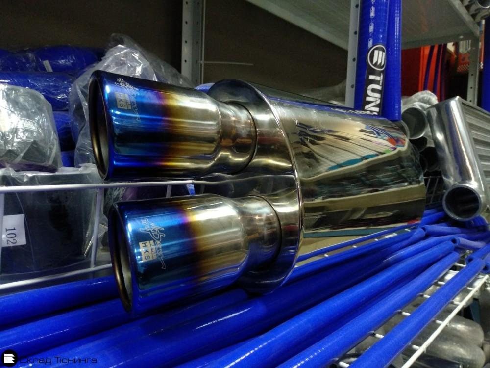 Глушитель прямоточный овальный HKS Hi-Power 63мм обожженная - 1